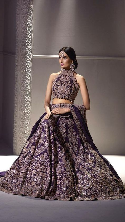 Purple And Gold Embroidered Lengha By Umar Sayeed I Love The