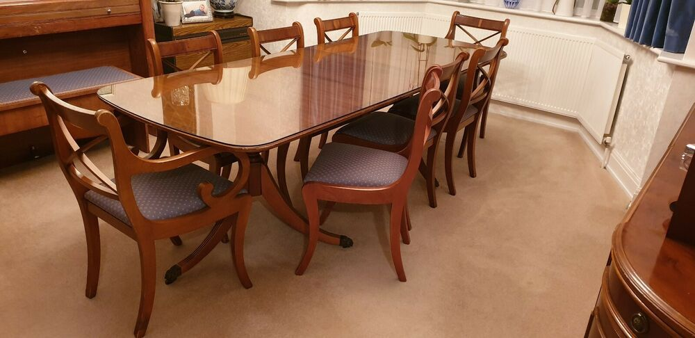 Details About Yew Wood Extendable Dining Room Table And 8 Chairs