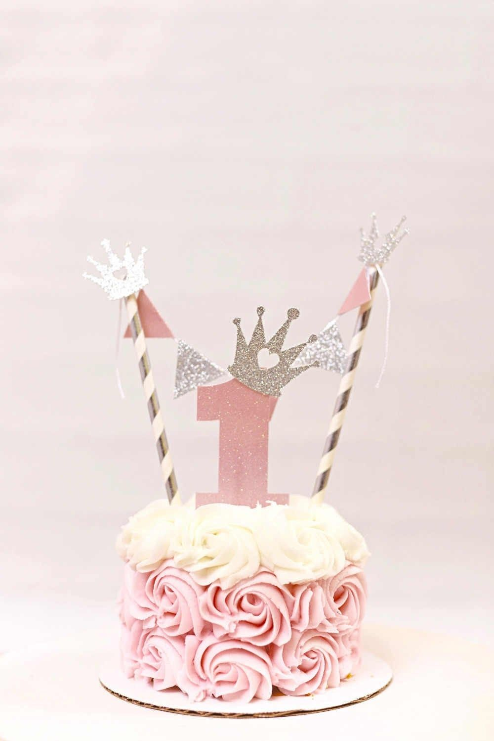 Pink /& Silver Cake Smash//1st Birthday Outfit With Mini Party Crown /& Cake Topper