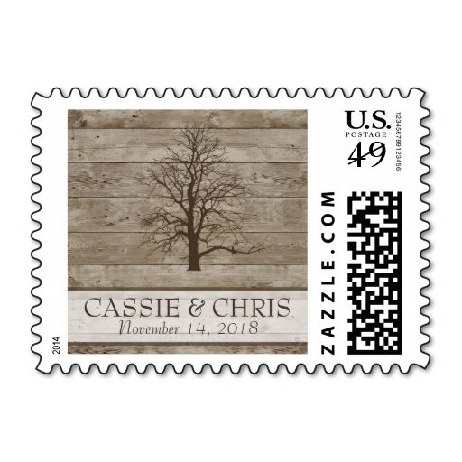 rustic winter wedding postage wood grain country make your own