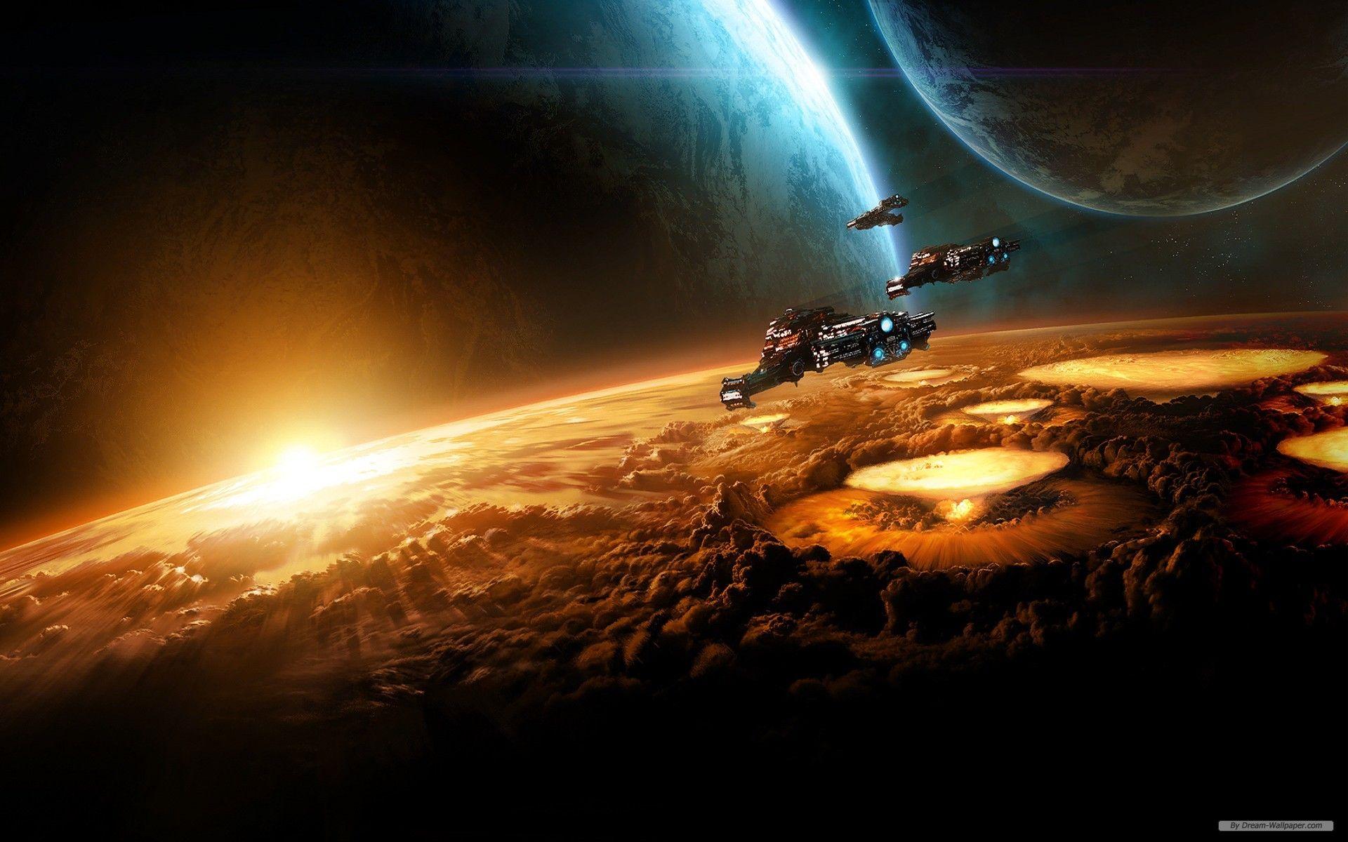 Spaceships Over The Horizon 1920 X 1200 Background Hd Wallpaper Starcraft Hd Wallpaper