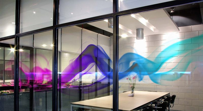 Painted Glass Partiitoin Wall Design Ideas Partitions