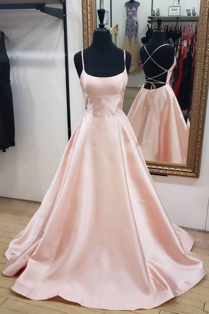 Pink Satin Backless Long Simple Prom Dress, Pink Evening Dress