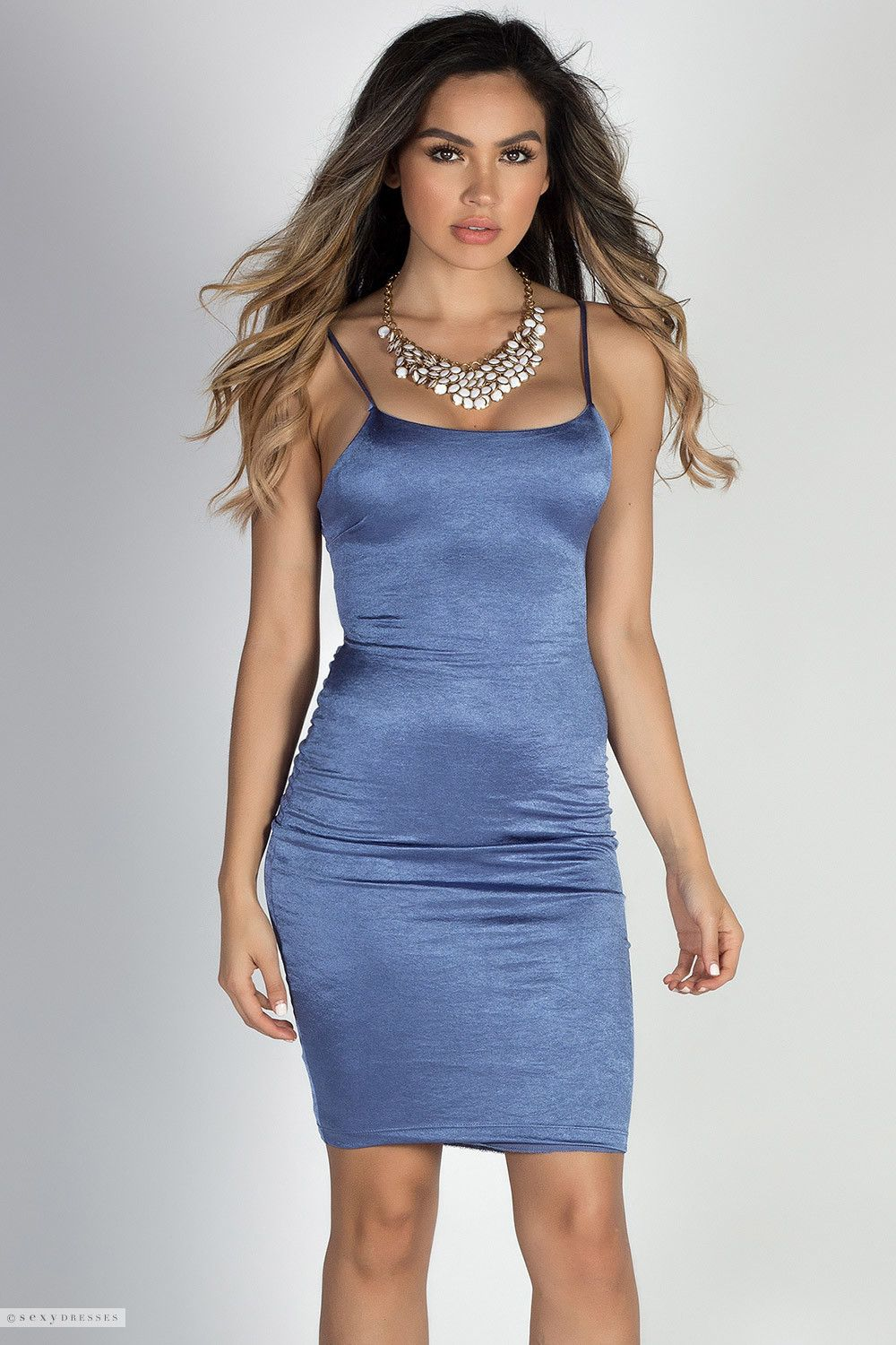 Bodycon Stretch Satin Midi Dress with Sexy Cut Out Lace Up Back