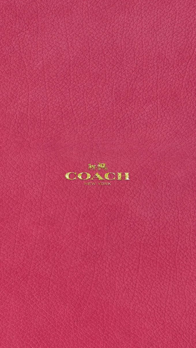 コーチ キラキラゴールドロゴ ピンクレザー 壁紙 ピンク