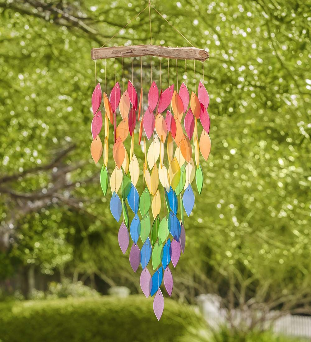 Glass Rainbow Leaves Wind Chime   Decorative Garden Accents ...