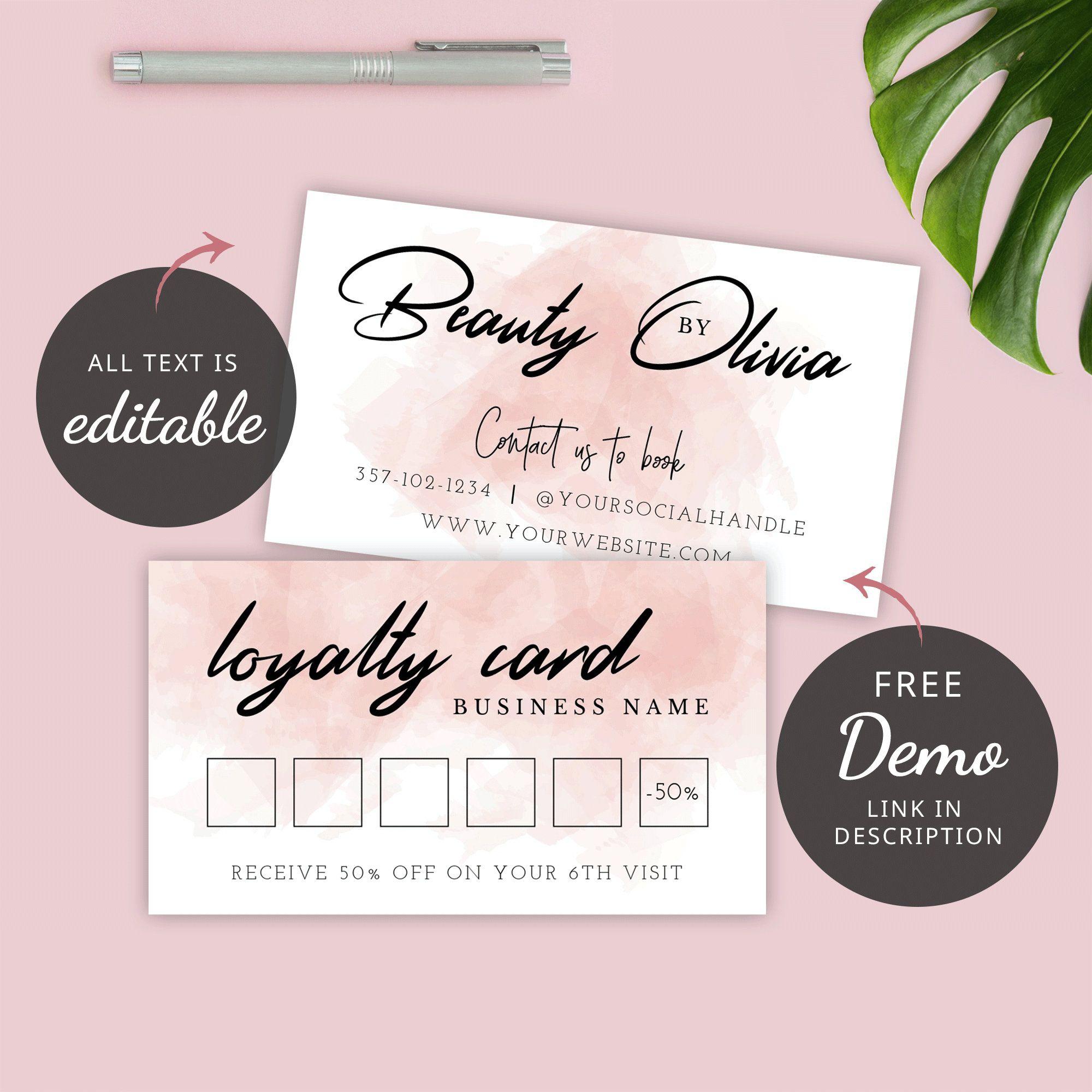Editable Rewards Card Beauty Loyalty Card Template Diy Etsy In 2021 Loyalty Card Template Loyalty Card Design Diy Loyalty Cards