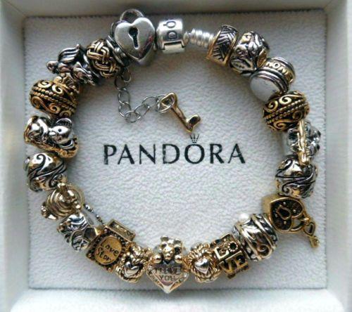 fba064ba6 Authentic Pandora Bracelet with European charms two tone gold
