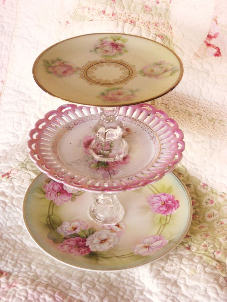 Photo of Items similar to Shabby Chic Style  Pink Dessert Tier Plate on Etsy