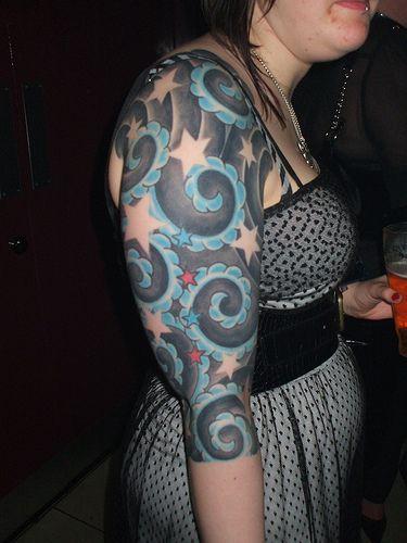 Color star tattoo sleeve