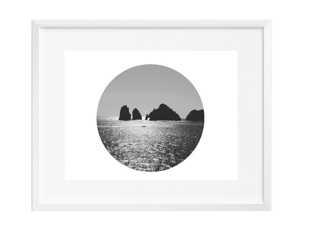 Round vast ocean wall art art print black and white contemporary