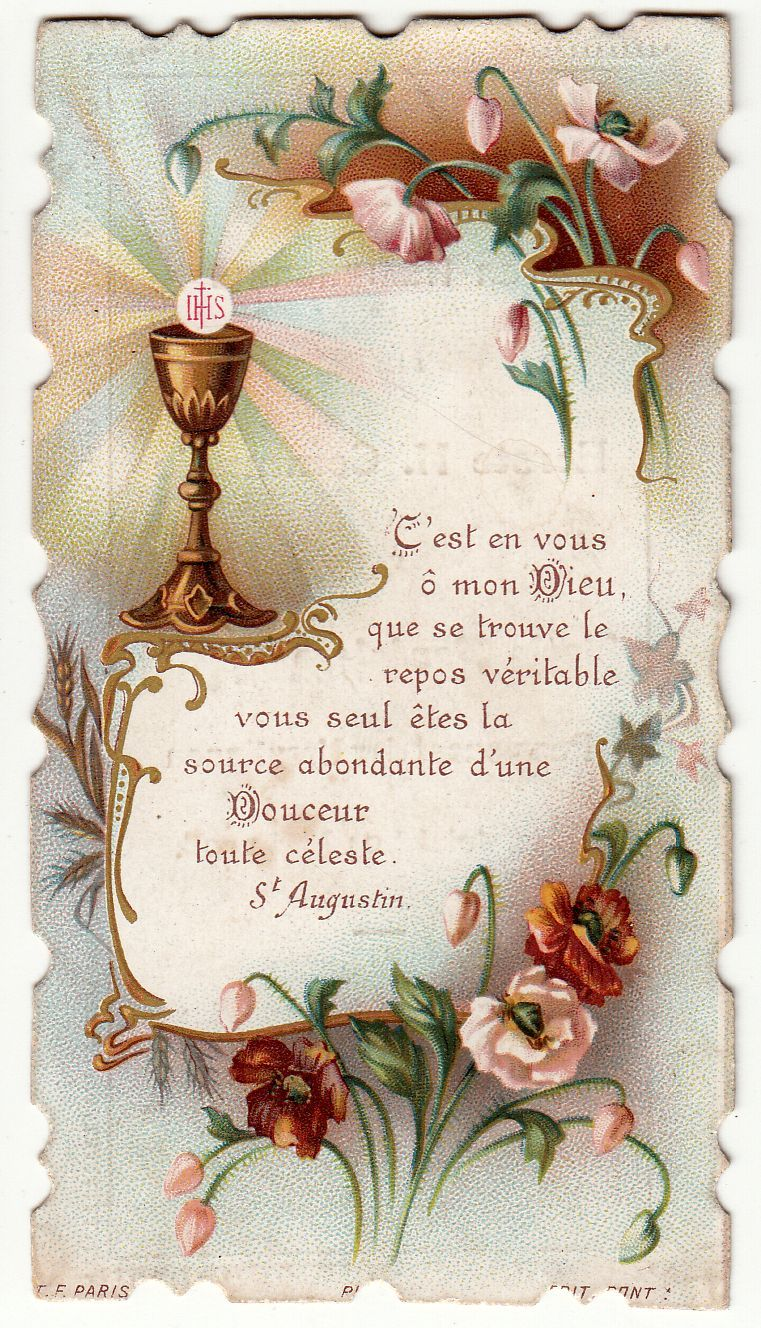 Antique french holy prayer card first communion souvenir circa antique french holy prayer card first communion souvenir circa 1906 size 6 x kristyandbryce Images