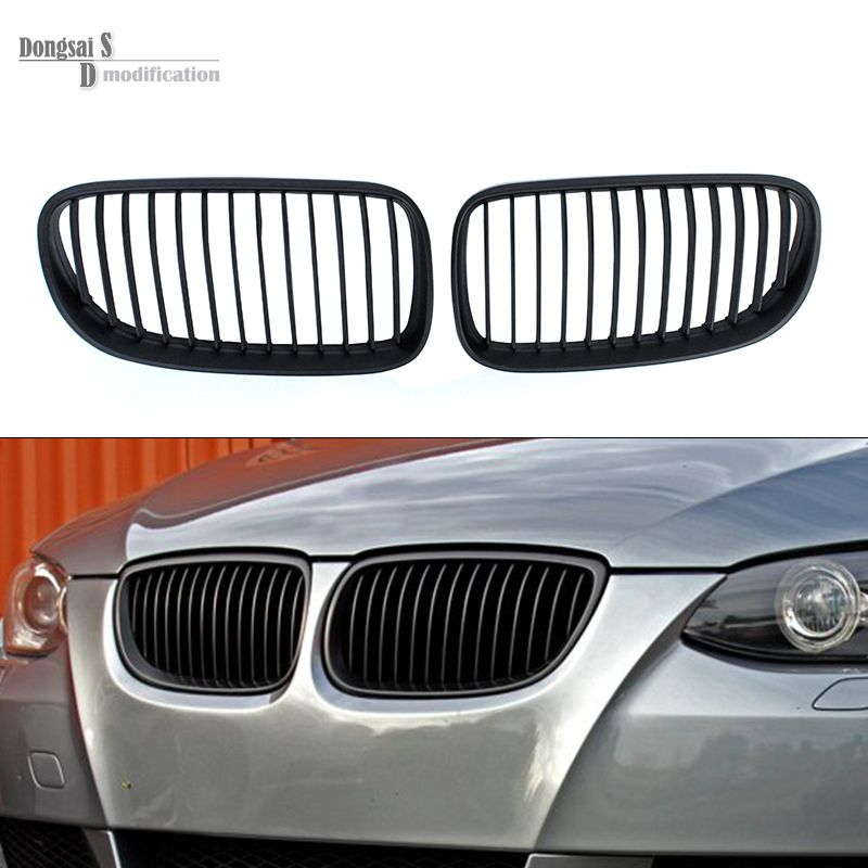 A Pair Of Front Black Wide Kidney Grille Grill For Bmw E92