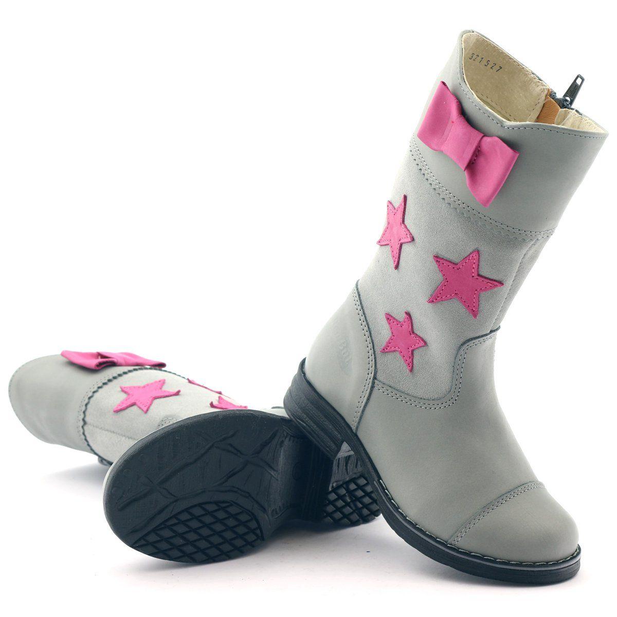 Kozaczki Dziewczece Ren But 3215 Szare Rozowe Boots Childrens Boots Girls Boots