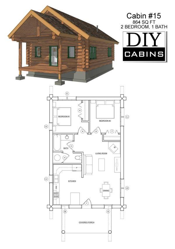 Cabin 15 Diy Cabin Log Cabin Floor Plans Cottage Floor Plans