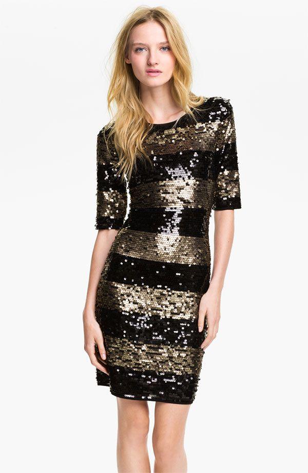 Bcbgmaxazria Sequin Stripe Dress