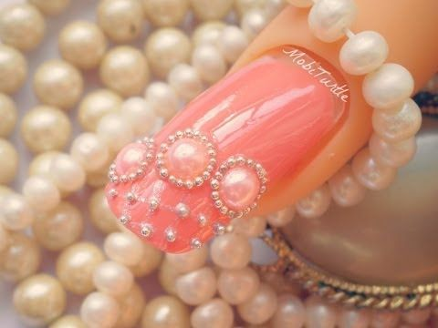 CORAL PEARLS BEADS AND LACE DESIGN ACRYLIC EASY NAIL ART | 1 MINUTE TUTORIAL - YouTube