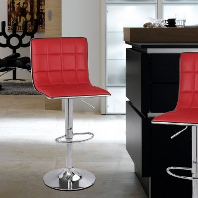 Adeco Red Adjustable Height Barstool Stool Chairs Chrome