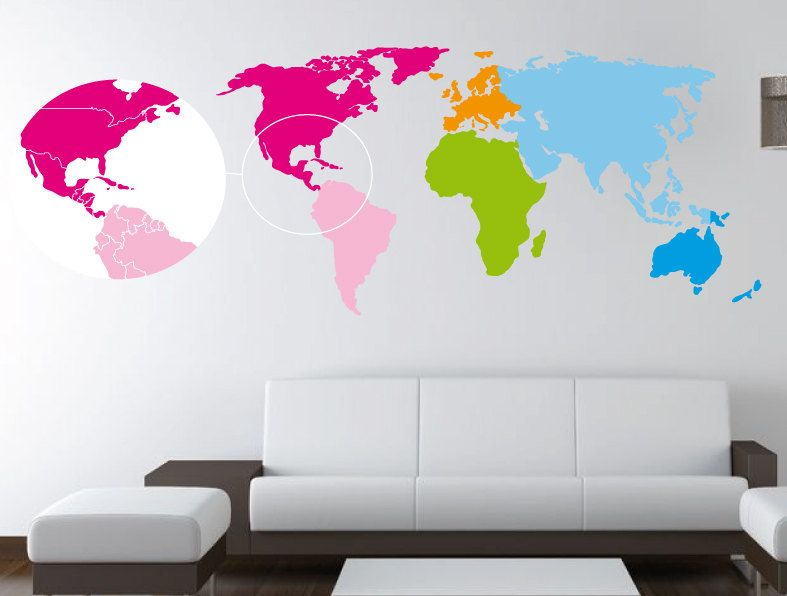 5 feet world map decal separated countries and colored continents 5 feet world map decal separated countries and colored continents wall decal wall gumiabroncs Gallery