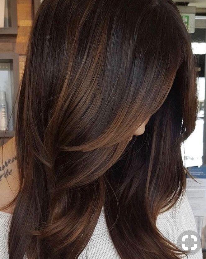 Brunette With Subtle Auburn Lowlight Bayalage Hair Styles Long Hair Styles Hair Highlights