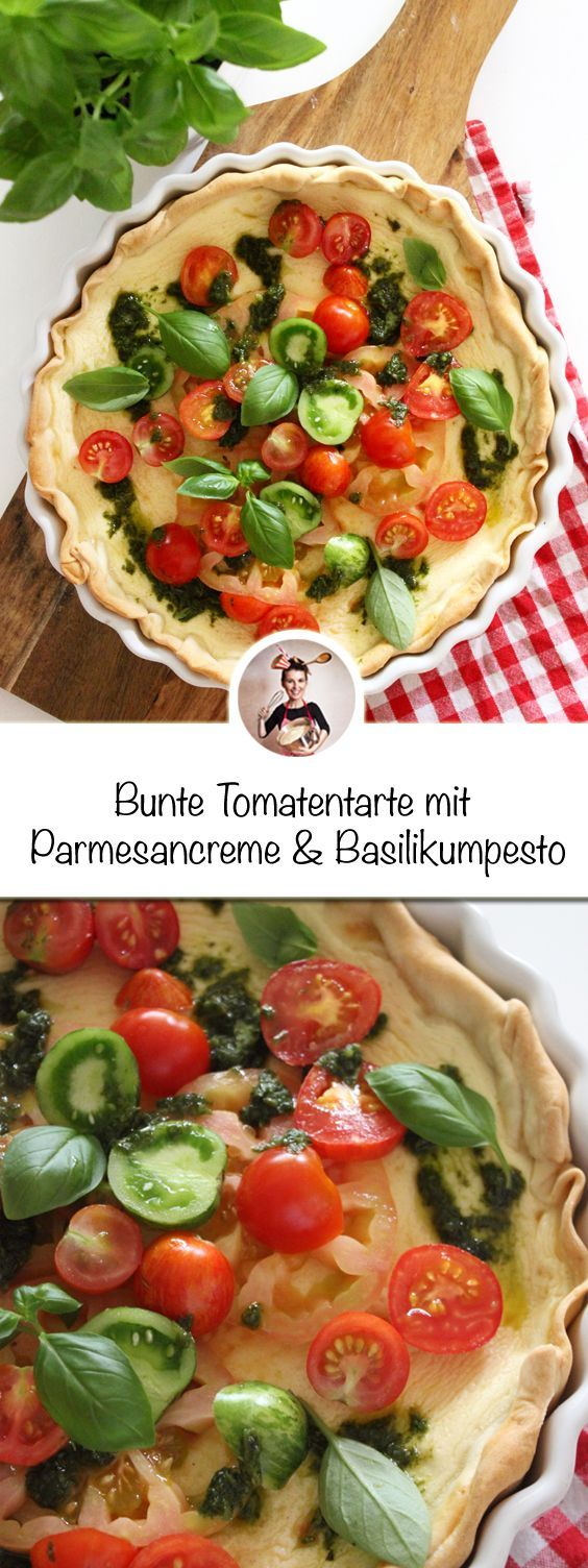 Bunte Tomatentarte mit Parmesancreme und Basilikumpesto Rezept