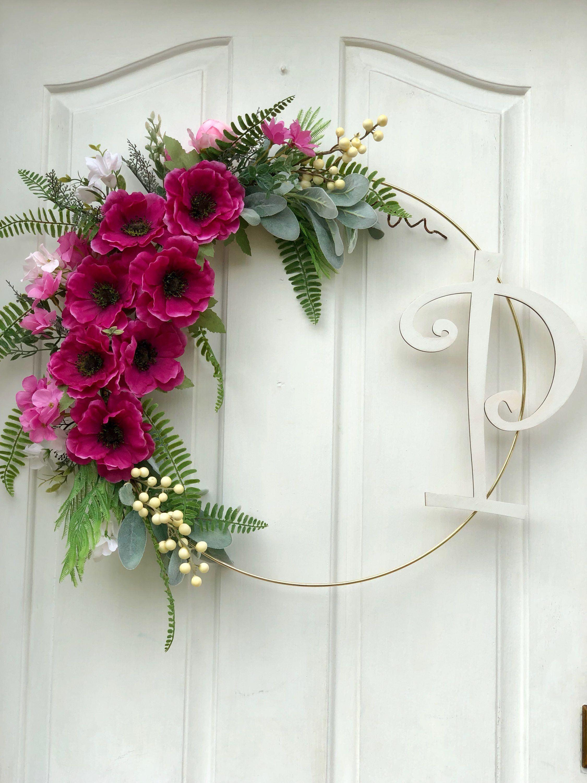 Modern Wreath For Front Door Personalized Wreath Pink Hoop Wreath Summer Door Decor Wreaths For Front Door Initial Door Wreaths Personalized Wreaths