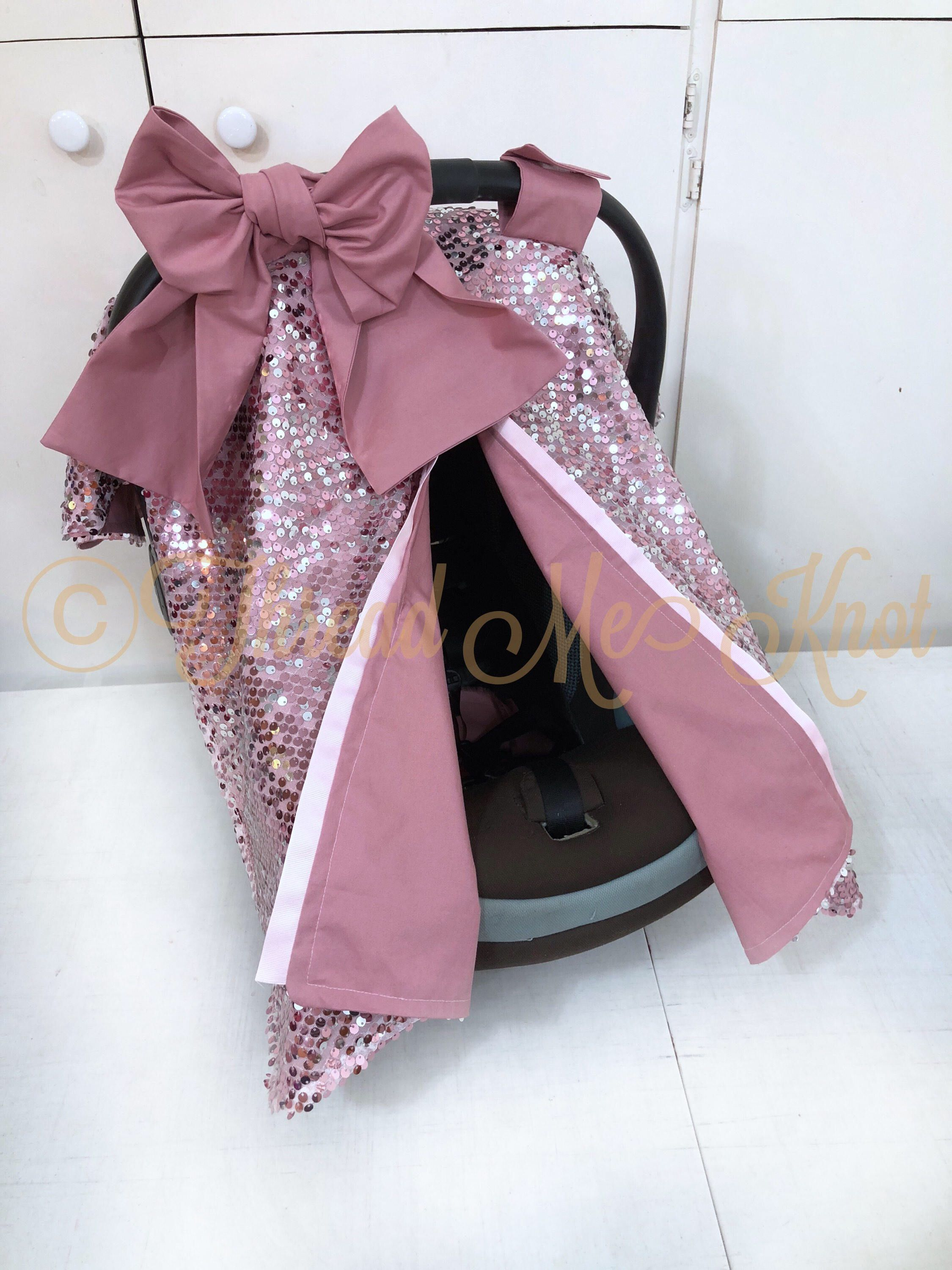 SALE PRICE LUX Dusty Rose & Silver Car Seat Canopy with