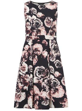 Black Scuba Floral Midi Dress