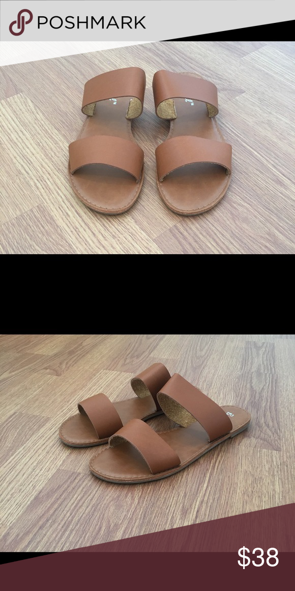 b138297f0c65f7 Two Strap Sandals Slides Slip On Tan Beautiful! Rubber soles for comfort.  Wear with anything all year! New in box. Faux Leather Firm Price Shoes  Sandals