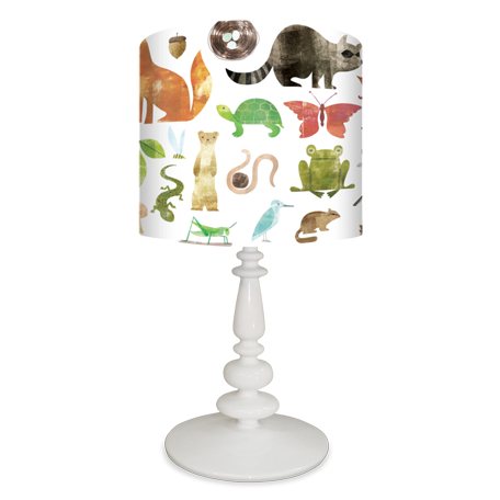 Forest friends a to z baby lamp shade and resin base by maria carluccio for oopsy daisy fine art for kids