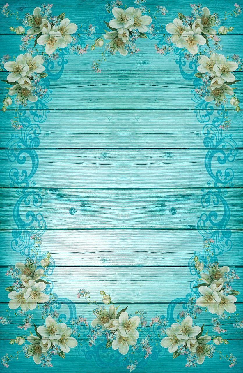Imagen gratis en Pixabay - Turquesa, Azul, Marco, Flores | Pinterest ...