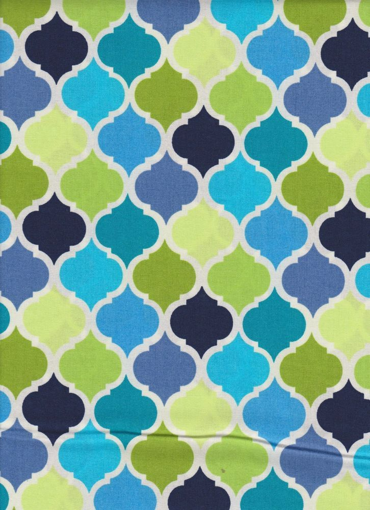 Royal Blue Lime Green Ogee Lattice Quatrefoil Fabric