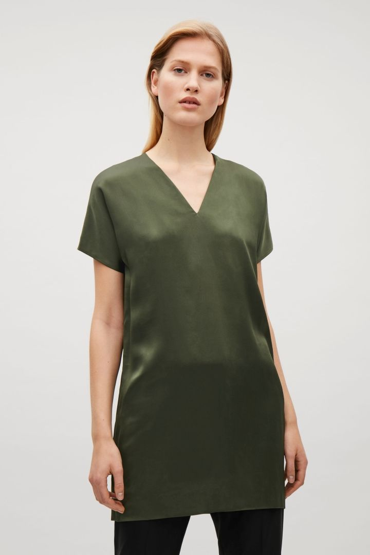 0def2ceee1e38 COS image 2 of Short v-neck silk dress in Khaki Green | COS ...