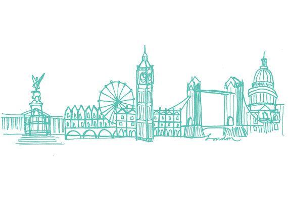 Illustrated Note Cards London Skyline London Art London Tattoo Cute Kawaii Drawings