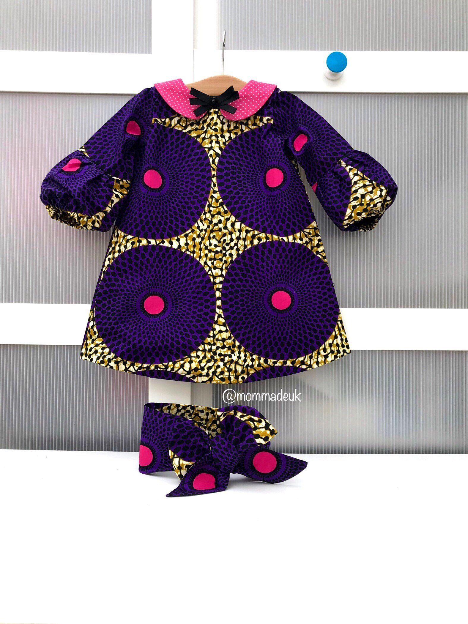 Anakara Skirt.Purple and Gold Baby Girl/'s Dress African Clothing Baby Ankara