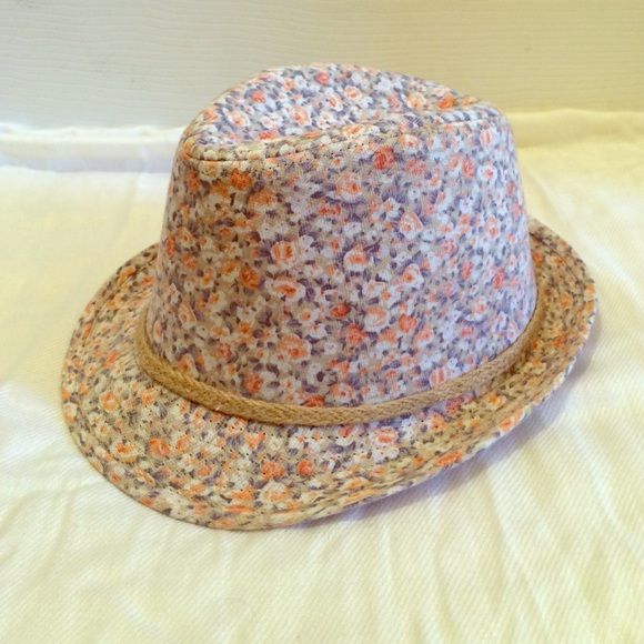 "Fun spring/summer fedora! Cute fedora with peach/pink/blue flowers and hemp braid. Clean and measures 22"" inside. Forever 21 Accessories Hats"