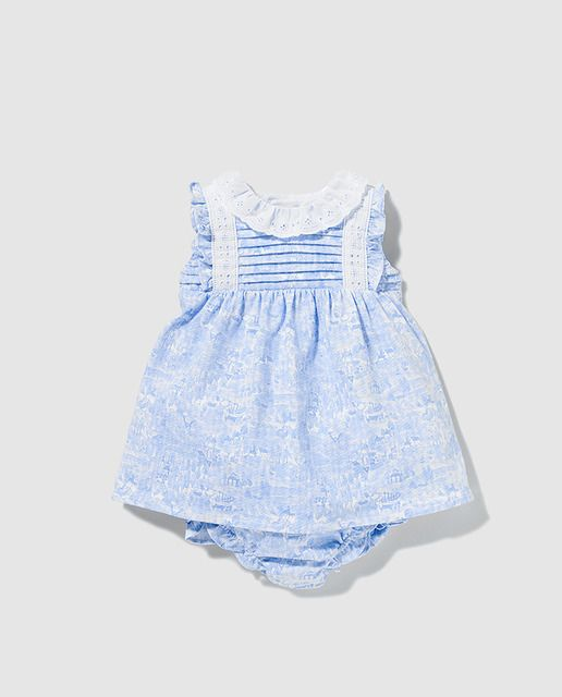 0c62b844827 Vestido de bebé niña Dulces con estampado azul