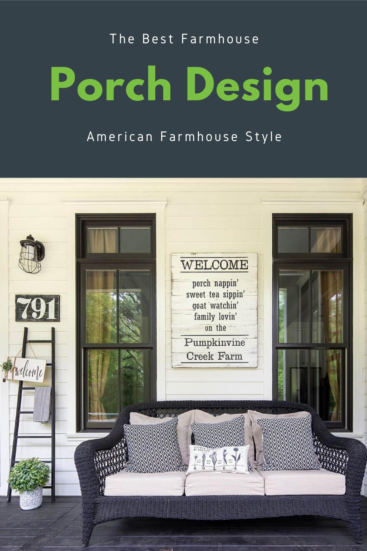 Tour this cute farmhouse porch in Georgia! Find out more at AmericanFarmhouseStyle.com. #farmhouse #porchdesign #porchdecor