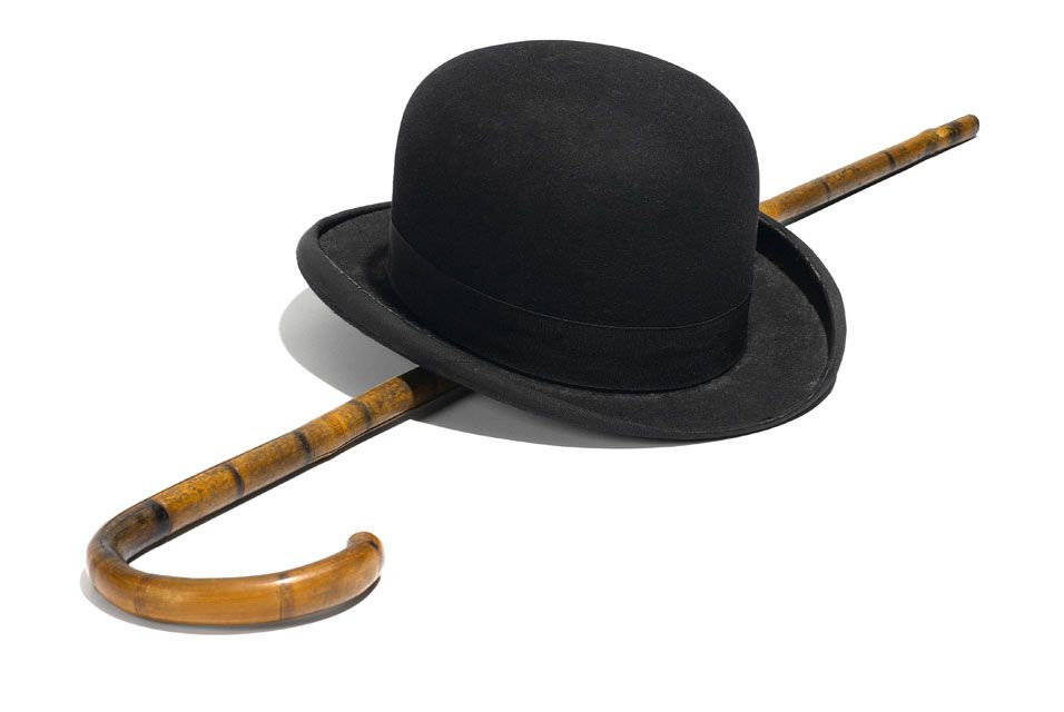 Charlie Chaplin s iconic bowler hat and cane  b58866f7033