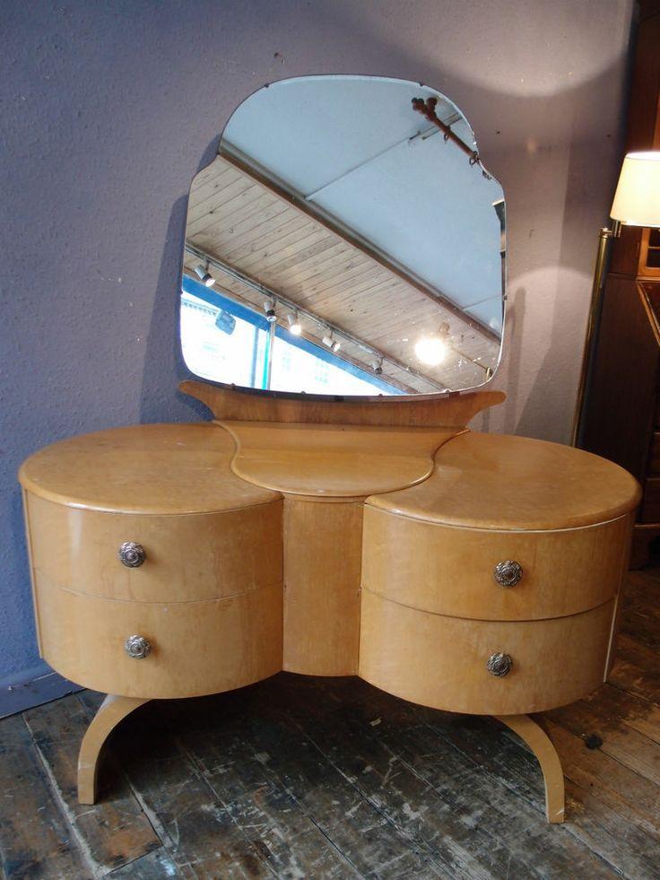 Art Deco Mirrored Dressing Table   ANTIQUE ART DECO CLOUD DESIGN BIRDS EYE…