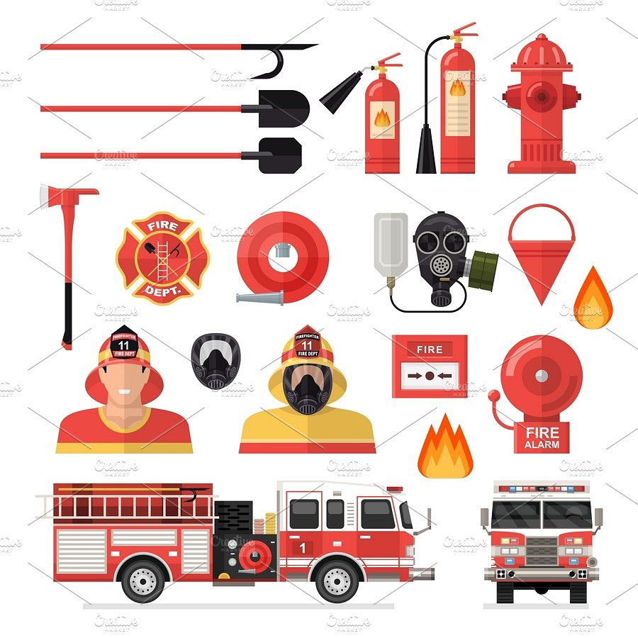 Firefighter Colored Icon Set Icon Set Icon Set Vector Free Icon Set