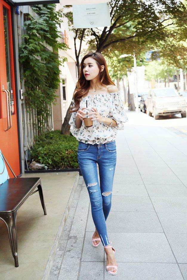 a6e7aa13d68 Flower Off Shoulder Blouse | asian fashion | Korean fashion, Fashion ...