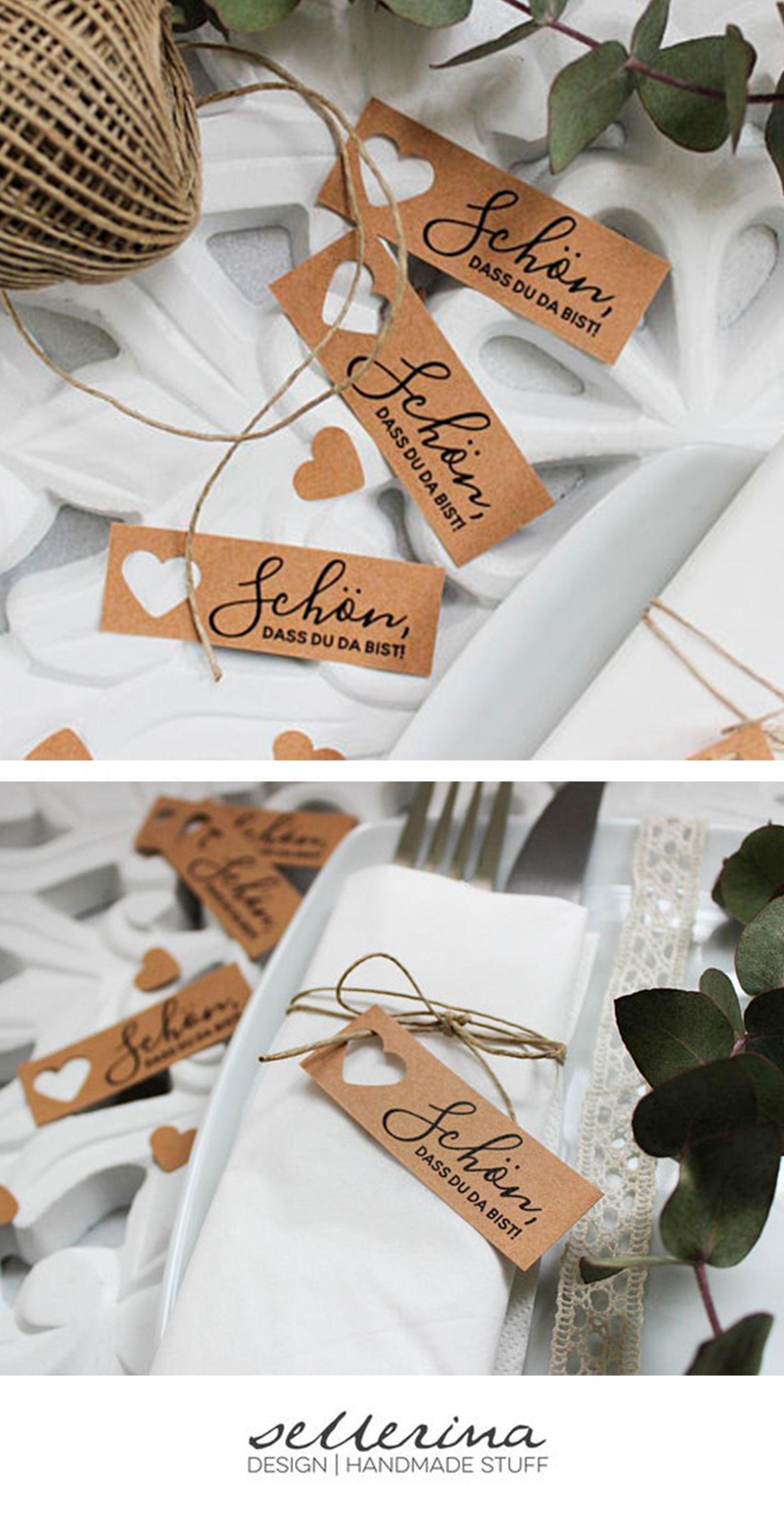 10 Stk. Tischkarten für Hochzeit – Namenskarten (Naturpapier, vintage, boho, platzkarten)