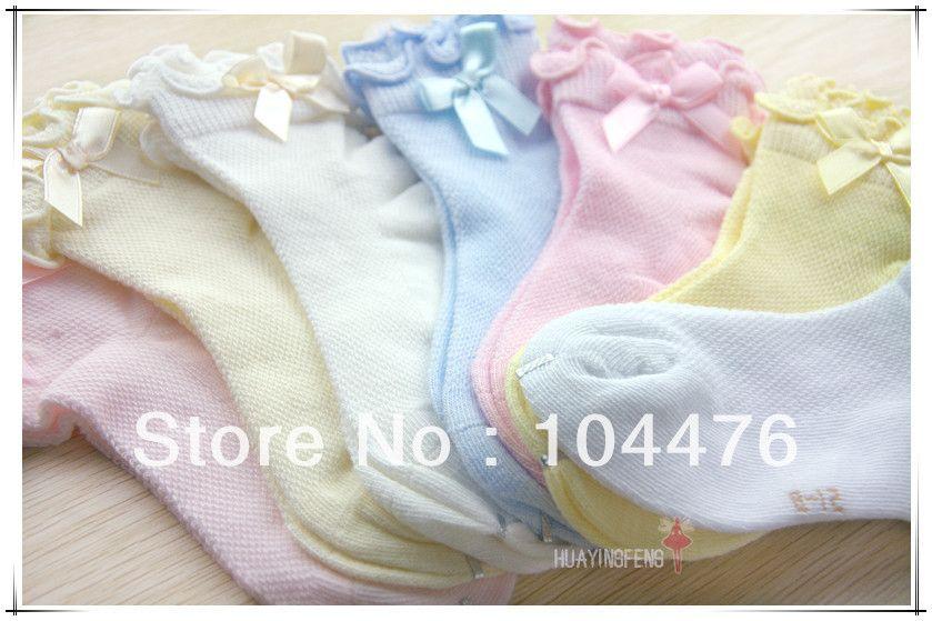 Free shipping 100% cotton children socks kid's socks laciness bow sock for 3-5 years children cute socks 12pairs/lot $23.92