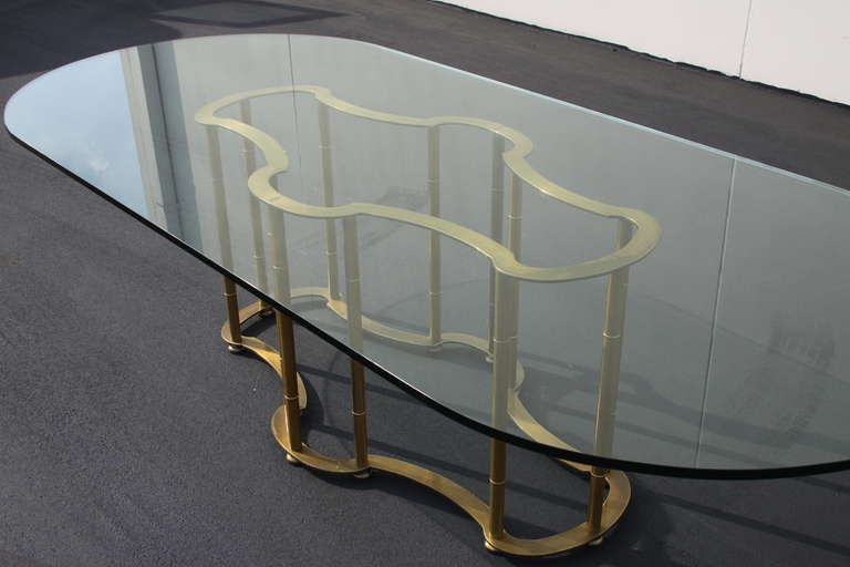Crackle Glass Racetrack Oval Dining Table Mastercraft