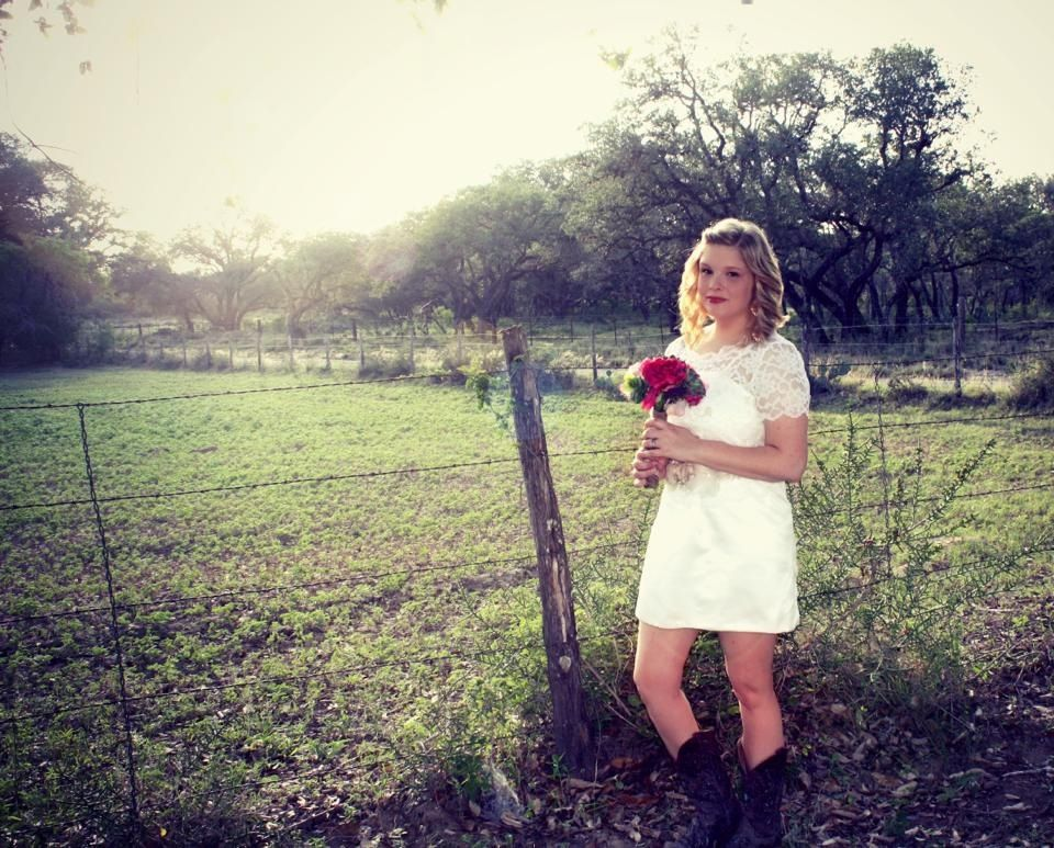 Short lace wedding dress with cowboy boots #lace #boots #western
