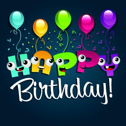 Free Happy Birthday Designs | Happy Birthday Balloons Vector Mirror Pictures