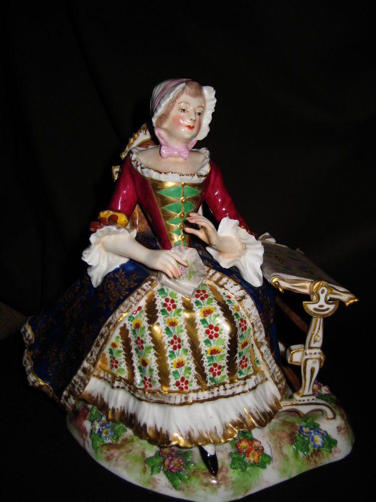 antike Porzellan Figur Gruppe am Schreibpult Thüringen ? Frankreich ? porcelain