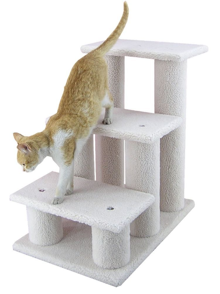 Indoor Pet Stairs 3 Steps Carpeted Ramp for Cat Dog Faux