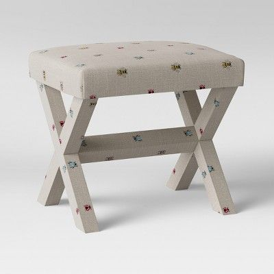 Incredible Bug Print X Base Ottoman Light Gray Threshold Home In Squirreltailoven Fun Painted Chair Ideas Images Squirreltailovenorg